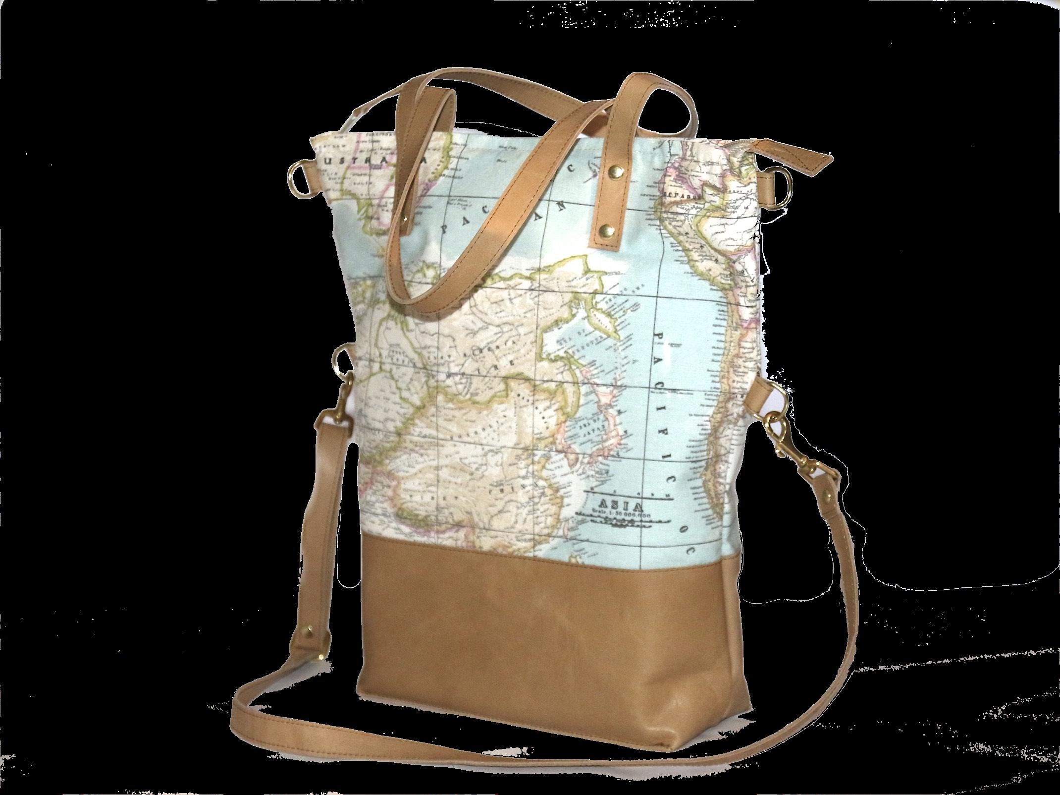 Landkarte Schultertasche Shopper Gleichzeitig Handtasche Leder