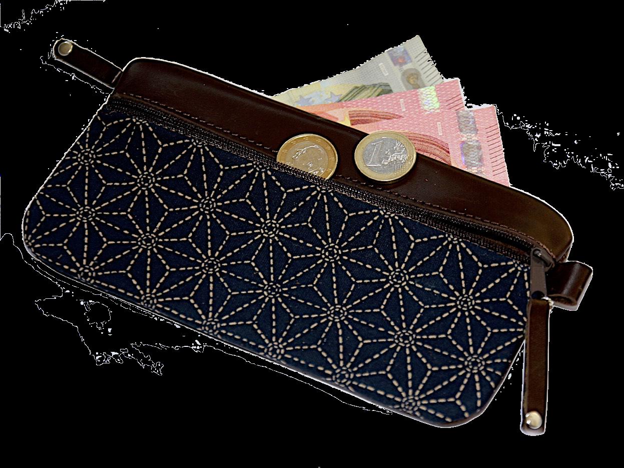 eleganter geldbeutel leder braun stoff asanoha japan. Black Bedroom Furniture Sets. Home Design Ideas