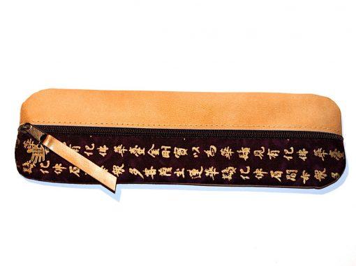Federmäppchen Kanji Stoff violett Leder gold