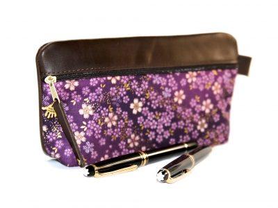Federmäppchen Leder violett groß japanische Stoffe Kirschblüten