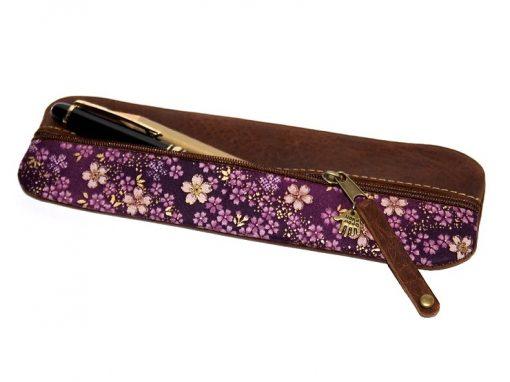 Stiftetui Japan violett japanische Stoffe Kirschblüten