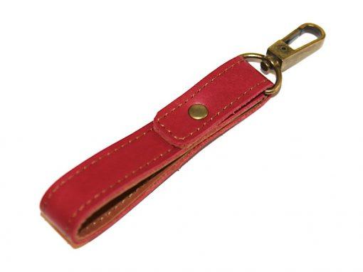 Schlüsselband rot Leder Karbiner