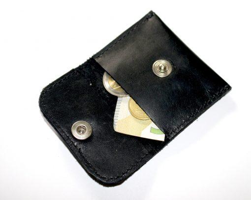 mini Geldtäschchen Leder Portemonnaie schwarz