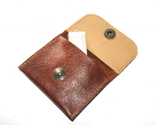 mini Geldtäschchen Leder Portemonnaie schwarz braun