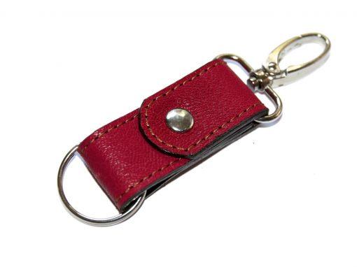 Schlüsselband rot Leder Karabiner Schlüsselring