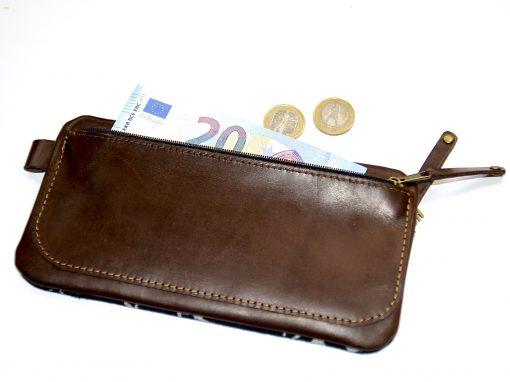 Portemonnaie Leder schokobraun Stoff Knospen blau