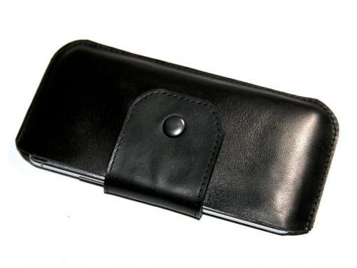 Handytasche Smartphonetasche schwarz komplett Leder 3