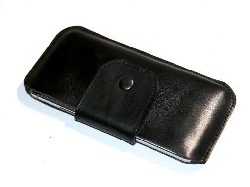 Handytasche Smartphonetasche schwarz komplett Leder 2