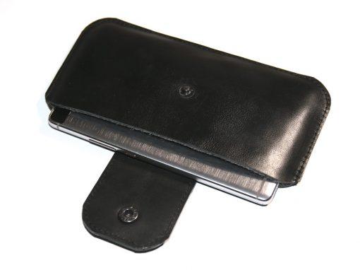 Handytasche Smartphonetasche schwarz komplett Leder 4