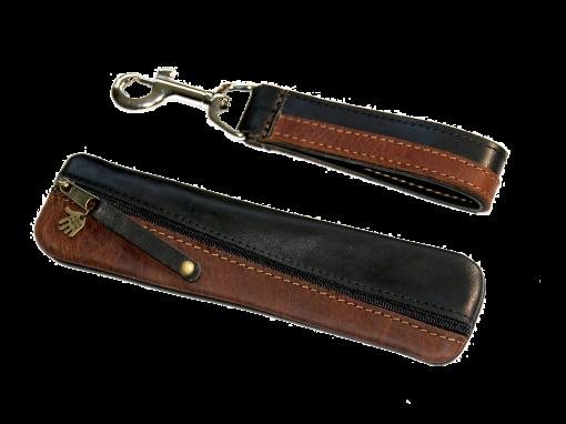 Federmäppchen DIAGONAL Leder braun Siena schwarz Glattleder