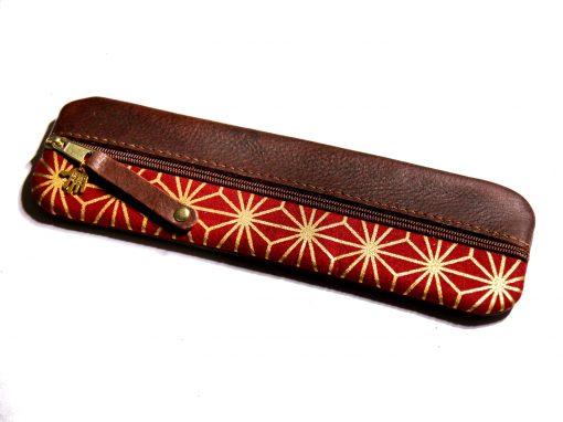 Federmäppchen asanoha gold rot Leder dunkelbraun
