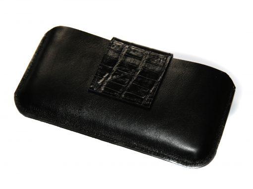 Smartphonetasche schwarz Lasche kroko geprägt 7