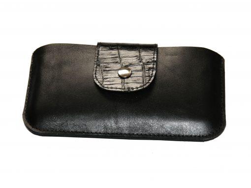 Smartphonetasche schwarz Lasche kroko geprägt 4