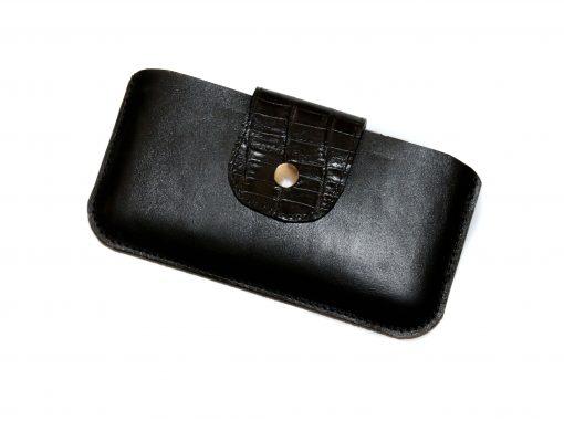 Smartphonetasche schwarz Lasche kroko geprägt 6