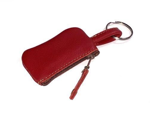 Täschchen für Schlüsselband Leder rot