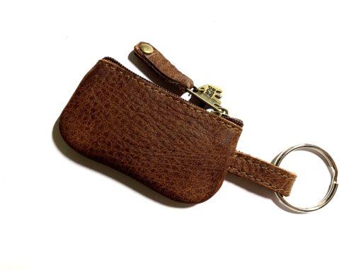 Täschchen für Schlüsselband Leder braun