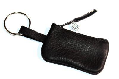 Täschchen für Schlüsselband Leder schwarz