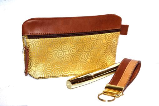 Federmäppchen Kosmetiktäschchen leder stoff gelb gold 1